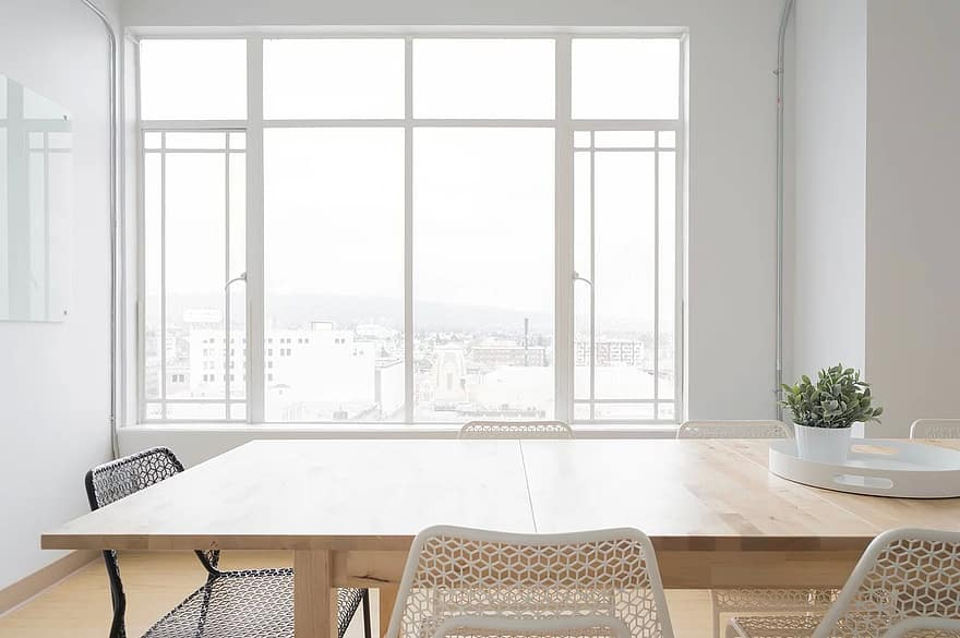 white room table chairs window glass vase flower plant