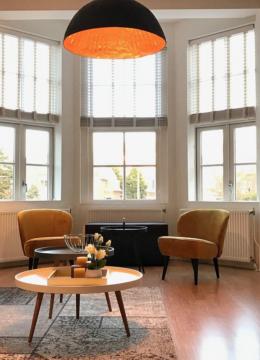 yellow chairs living room lamp