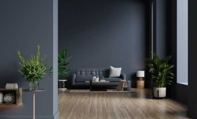 Beautiful dark living room gray couch