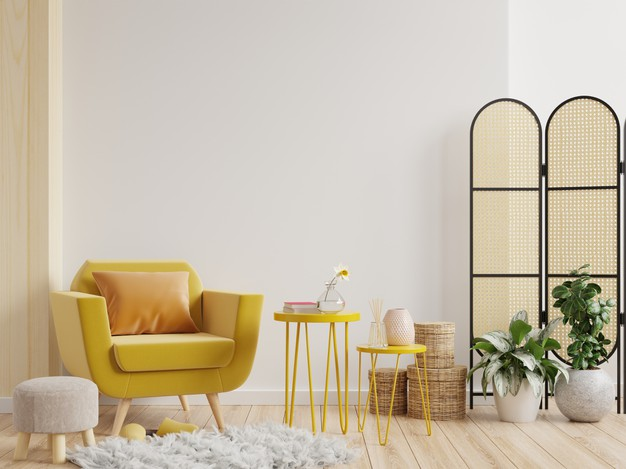 brown living room with yellow sofa ideas and wooden art
