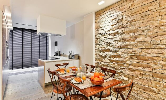 dining room kitchen modern style facing wall stone wall brickwall modern decor open kitchen