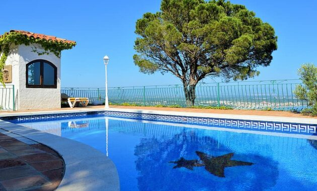 pool garden tree green nature water blue sky view