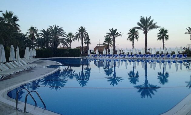 pool relax water swimming pool blue palm trees hotel complex silent abendstimmung