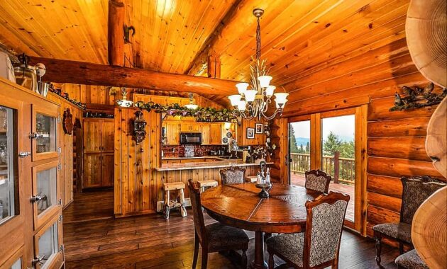 rustic kitchen logs log home house rural interior architecture