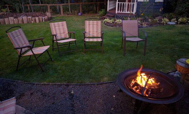 backyard fire pit chairs summer evening
