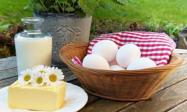 egg milk butter out garden herbs fresh breakfast break