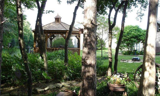 gazebo canopy garden backyard trees shelter pavilion
