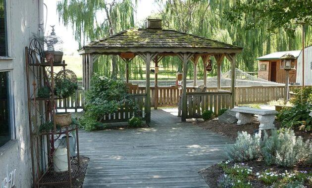 gazebo deck shade patio trees relaxation outdoors backyard pergola