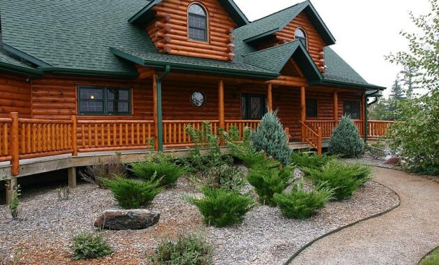 log home house cabin log cabin landscaping home log building country