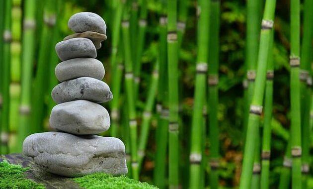zen garden meditation monk stones bamboo rest relaxation patience