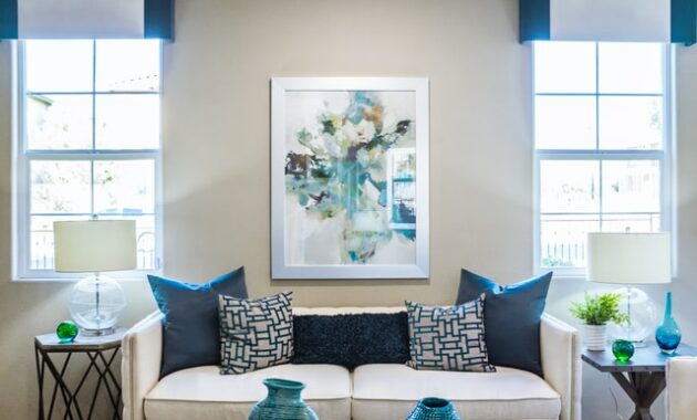Living room soft sofa color with wall art