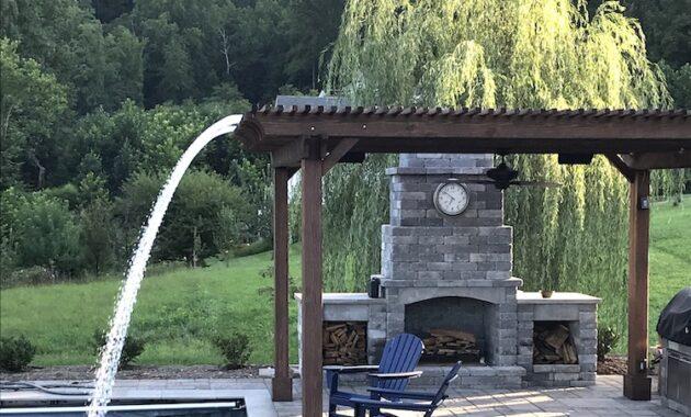 Pergola waterfall backyard