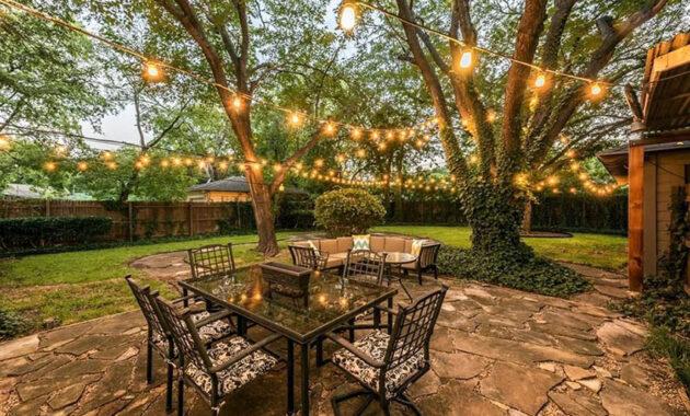 String lights for modern backyard