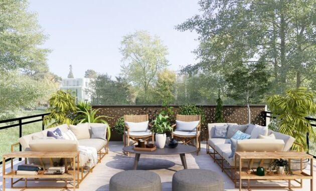 cozy modern patio backyard